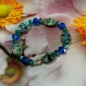 Abalone & Crystal Stretch Bracelet